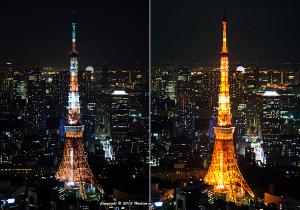 東京タワー夏バージョンと冬バージョン