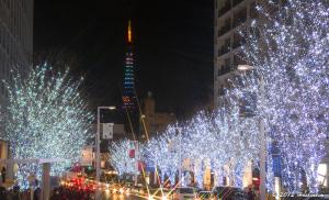 六本木ヒルズけやき坂通りから東京タワーダイヤモンドヴェール クリスマスVer.