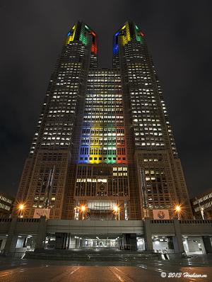 都庁第一本庁舎2020年五輪招致ライトアップ