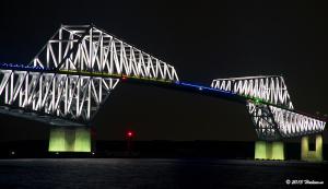 東京ゲートブリッジの五輪招致ライトアップ
