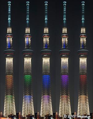 東京スカイツリー2020年東京五輪決定お祝いライトアップ