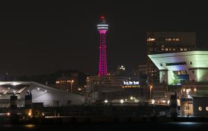 ピンクリボンかながわイルミネーション 横浜マリンタワー