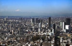 渋谷方面と富士山