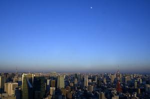 東京タワーと東京スカイツリーと月