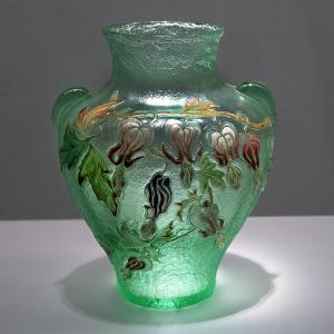 エミール・ガレ クレマチス文耳付花瓶